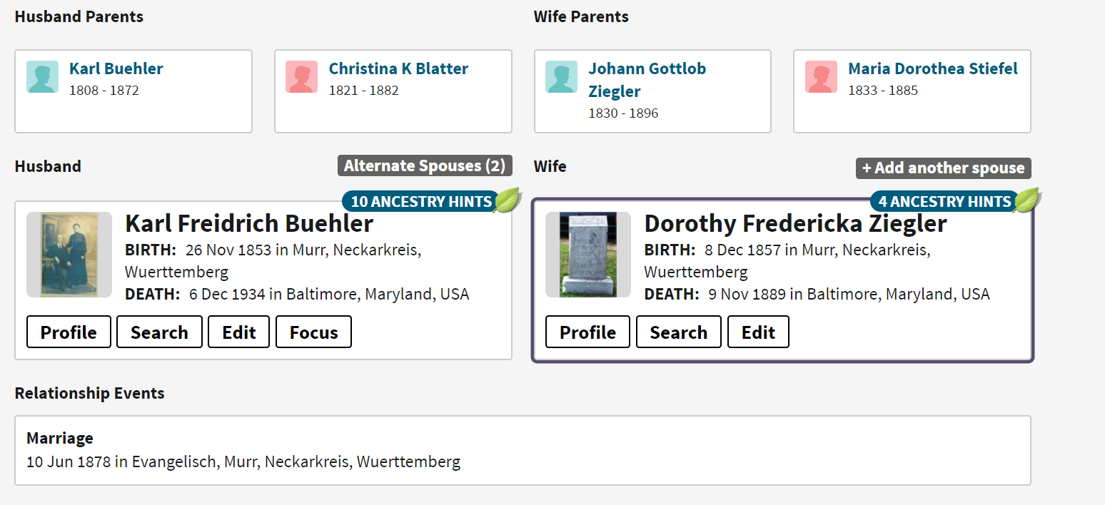 Buehler-Ziegler Family Group Sheet 1