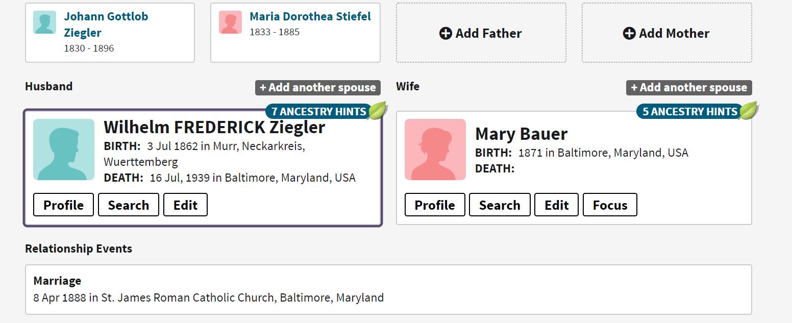 Frederick Ziegler Family Group Sheet 1
