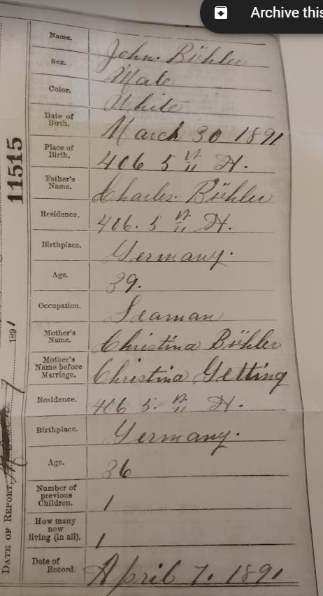 John Buhler birth certificate